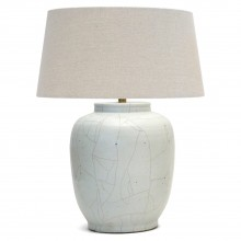 White Crackle Glazed Stoneware Lamp