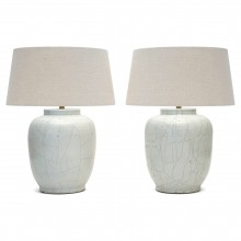 Pair of White Crackle Glazed Stoneware Lamps
