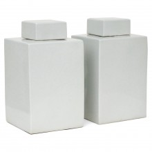 Pair of Square White Ceramic Canisters
