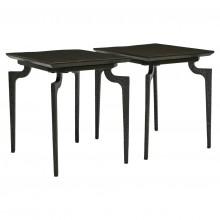 Pair of Rectangular Ebonized Wood and Iron Side Tables