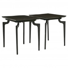 Pair of Rectangular Ebonized Wood and Iron Side Tables
