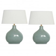 Pair of Light Blue/Gray Opaque Glass Lamps