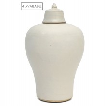 White Glazed Urn with Lid