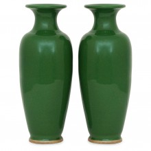 Pair of Moss Green Vases