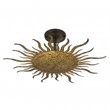 Gilt Iron Sunburst Light Fixture
