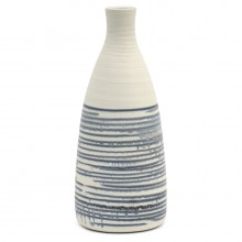 Blue and White Striped Vase