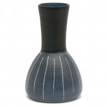 Blue, Black and White Striped Vase