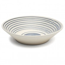 Blue and White Striped Ceramic Bowl