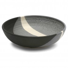 Gray, Black and White Abstract Ceramic Bowl