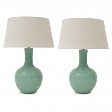 Pair of Light Green Stoneware Table Lamps
