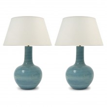 Pair of Large Blue Strie Table Lamps