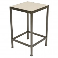 Square Steel and Marble Side Table