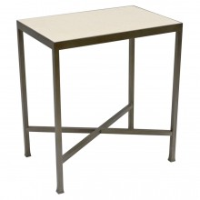 Rectangular Steel and Marble Side Table