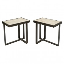 Rectangular Iron and Travertine Asymmetrical Drinks Table