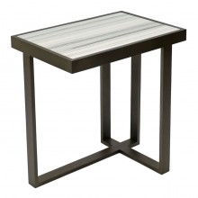Rectangular Iron and White Marble Asymmetrical Drinks Table
