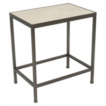 Rectangular Steel and Creme Marfil Marble Side Table