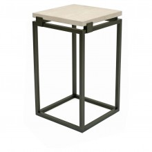 Square Iron Table with Floating Creme Marfil Top