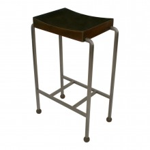 Polished Steel Barstool with Walnut Seat