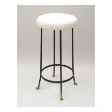 Bar Height Cast Bronze and Black Iron Barstool