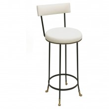 Bar Height Cast Bronze and Black Iron Barstool with Back