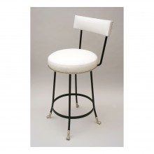 Bronze and Black Iron Barstool with Nickel Plated Feet (Shown COL)