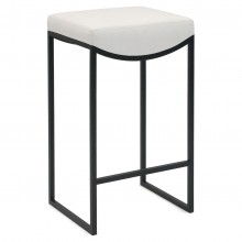 NEW ITEM - Black Metal Bar Stool With Upholstered Seat
