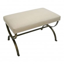 Curule Form Iron Bench with Upholstered Seat