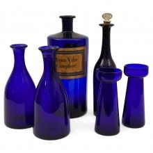 Set of Six English Cobalt Glass Bottles