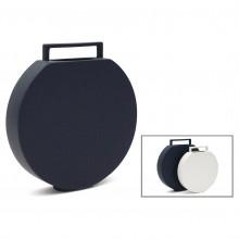 Circular Flat Dark Blue Ceramic Vase with Handle