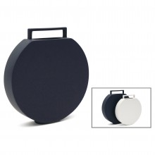 Circular Flat Dark Blue Ceramic Vase with Handle