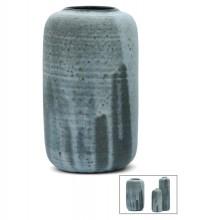 French Blue Stoneware Vase