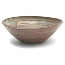 Beige and Peach Colored Stoneware Bowl