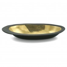 Large Oval Brass and Bronze Bowl