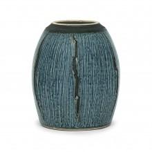 Blue Strie Stoneware Vase