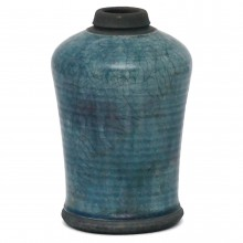 Raku Fired Blue Crackle Vase