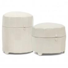 Set of Two Crackle Glazed Porcelain Boxes