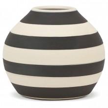 Black and White Striped Stoneware Vase