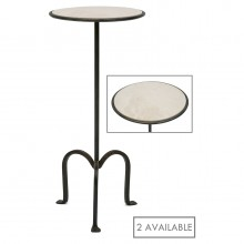Iron Tripod Table with Creme Marfil Marble Top