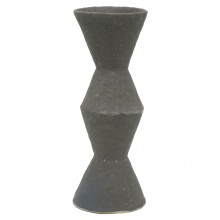 Pinched Tall Black Stoneware Vase