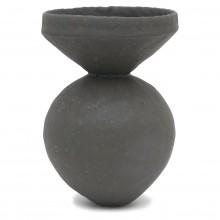 Pinched Black Sphere Stoneware Vase