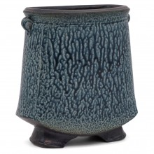 Blue Textured Stoneware Vase