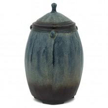 Blue Textured Stoneware Jar