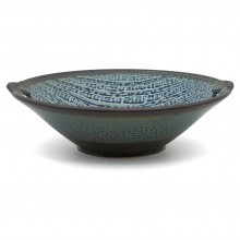 Blue Textured Stoneware Bowl