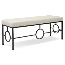 Black Iron Bench With Upholstered Seat