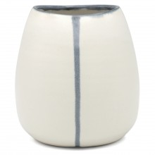 Oval White Vase with Blue Stripes