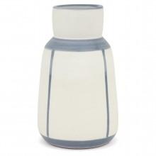 White Stoneware Vase with Blue Stripes