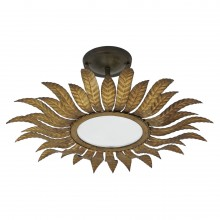 Gilt Iron Starburst Light Fixture