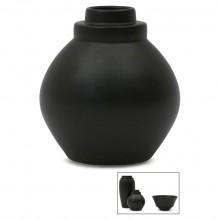 Circular Black Porcelain Stepped Vase