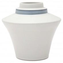 Flared White Porcelain Stepped Vase with Blue Band