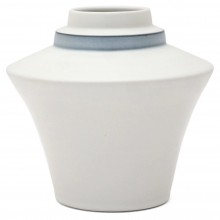 Flared White Porcelain Stepped Vase with Blue Band